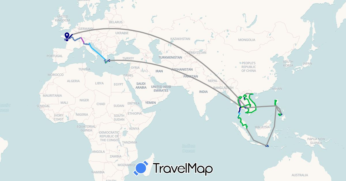TravelMap itinerary: driving, bus, plane, cycling, train, hiking, boat, hitchhiking, motorbike, bateau in France, Greece, Indonesia, Italy, Cambodia, Laos, Malaysia, Philippines, Singapore, Thailand, Vietnam (Asia, Europe)